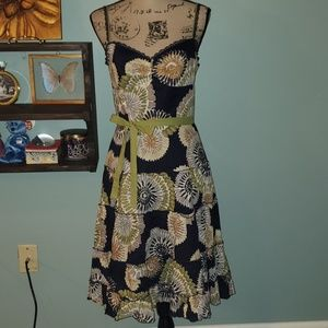 BCBGMAXAZRIA Medallion Floral Lace Tier Sundress